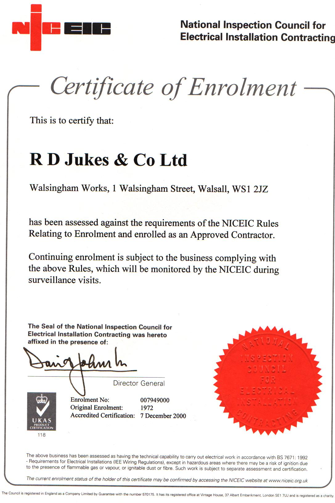 Certifications Rd Jukes Ltd Electrical Engineers Contractors